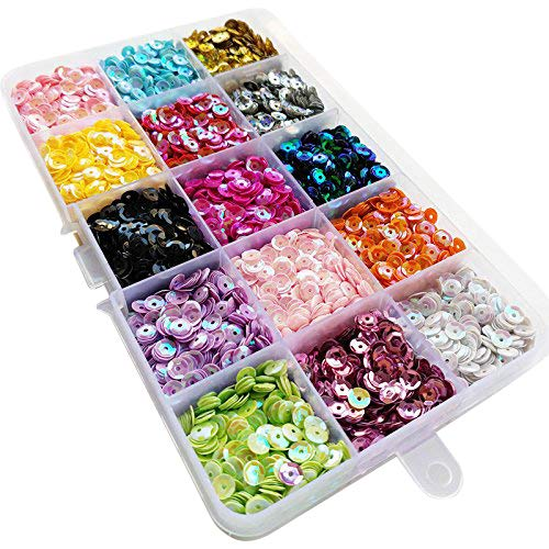 (Chenkou Craft 1 Box 15000pcs 5mm Rainbow AB Cup Sequin Flake for Wedding Christmas Clothes Jewelry 15 Colors Sequins (Cup Sequins 15colors with Box))