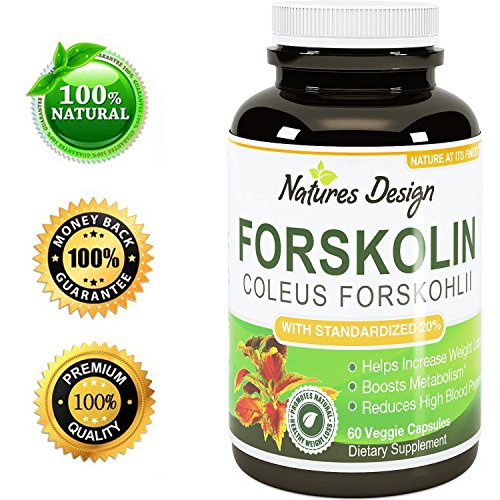 Natural Forskolin For Weight Loss - Burn Belly Fat - Support Energy Levels - Boost Testosterone - Pure Coleus Forskohlii Extract - Weight Loss Supplements For Women And Men By Natures Design
