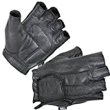 Xelement XG850 Mens Black Leather Deerskin Fingerless Motorcycle Gloves - X-Large