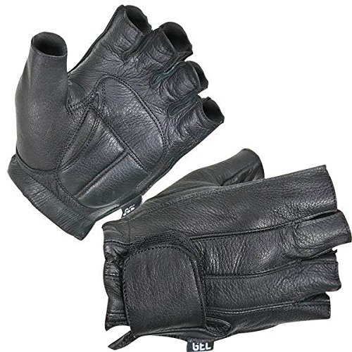 Xelement XG850 Mens Black Leather Deerskin Fingerless Motorcycle Gloves - 2X-Large