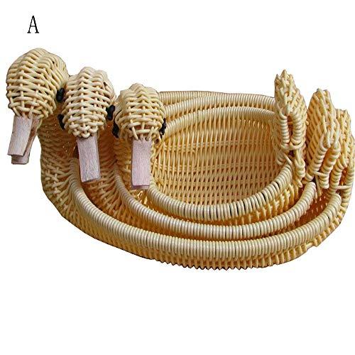 F&W WF Storage Basket - Imitation Rattan Snack Basket Creative Animal Storage Basket (Color : Beige, Size : C)