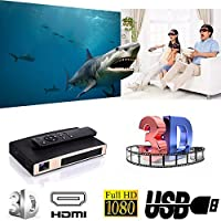 GENAI Mini Portable Pico Projector, HD for iPhone Android System DLP 1800Lumens 3D Video Projector Support 1080P HDMI USB TF Card Wifi Bluetooth Video Pocket Projector for Home Theater Cinema