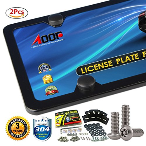 AOOTF License Plate Frame Aluminum Frames Fine Side with Stainless Steel Anti-theft Screws EASY INSTALL (4 Holes)-2Pcs