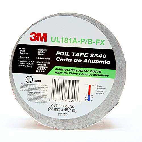 3M Aluminum Foil Tape 3340, 2.5 x 50 yd, 4.0 mil, Silver, HVAC, Sealing and Patching Hot and Cold Air Ducts, Fiberglass Duct Board, Insulation, Metal Repair