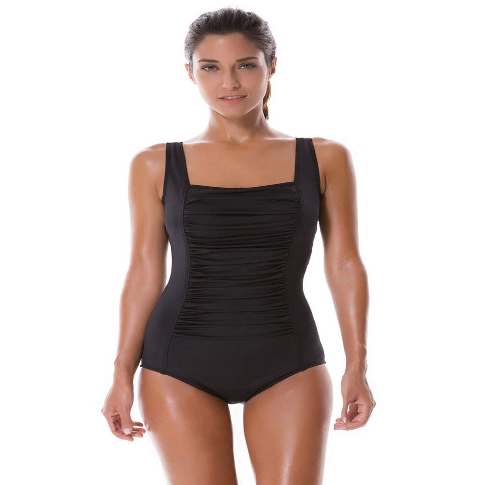 LXKDYYY Womens Pleated Maillot One Piece Athletic Sporty Training Swimsuit