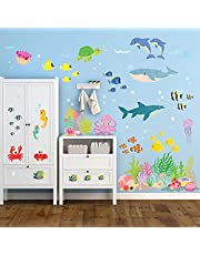 DECOWALL DW-2014 Under the Sea Wall Stickers Wall Decals Peel and Stick Removable Wall Stickers for Kids Nursery Bedroom Living Room