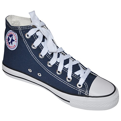 S-3 Men's High Top Classic Canvas Sneakers Fashion Lace-up Shoes (9.5, Navy Blue) Canvas Mens Sneakers