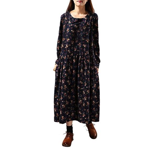 POLP Vestidos Manga Larga Mujer, Vestido Lino Mujer, Vestidos Sueltos Mujer, Vestidos otoño Invierno 2018, Falda Larga Mujer, Tallas Grandes Vestidos de ...