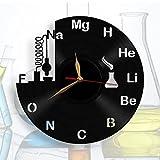 "Chemistry Science Wall Clock, Class Room Black Clock 12""(30 cm), Teacher Gift, made of Vinyl Record"