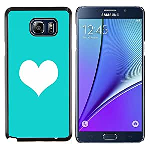 Mint Green Heart minimalista Amor Limpio- Metal de aluminio y de plástico duro Caja del teléfono - Negro - Samsung Galaxy Note5 / N920