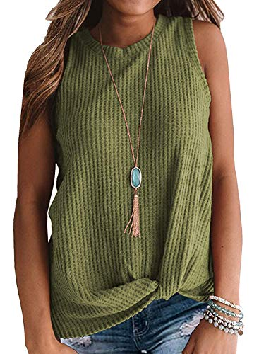 Womens Crew Neck Tank Tops Waffle Knit Sleeveless Shirts Tie Knot Tanks Plain Tunics Green S