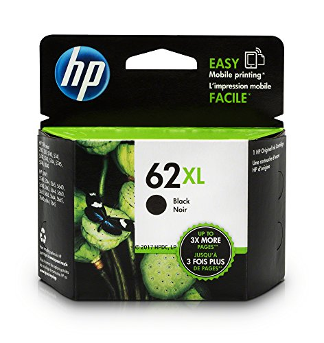 Office Products : HP 62XL Black High Yield Original Ink Cartridge (C2P05AN) for HP ENVY 5540 5541 5542 5543 5544 5545 5547 5548 5549 5640 5642 5643 5644 5660 5661 5663 5664 5665 7640 7643 7644 7645 HP Officejet 200 250 258 5740 5741 5742 5743 5744 5745 5746 8040