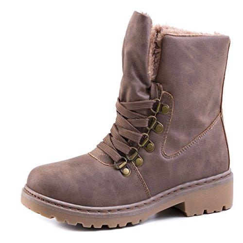 Damen Winter Schnür Boots Schuhe Stiefel mit Kunstfell in Lederoptik warm gefüttert Khaki 36 xMgjx