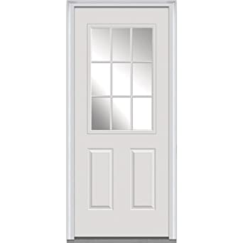 Amazon National Door Company Z000722L Steel Primed Left Hand In Swing Prehung Front 9 Lite 2 Panel External Grilles Clear Glass