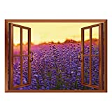 SCOCICI Removable Wall Sticker/Wall Mural/Lavender,Lavender Field in Summer Near Tihany Hungary Agriculture Harvest Scent Aroma Decorative,Violet Mustard/Wall Sticker Mural