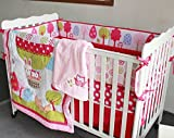 NAUGHTYBOSS Girl Baby Bedding Set Cotton 3D Embroidery Hot Air Balloon Rabbit Fox Owl Quilt Bumper Bedskirt Fitted Blanket 8 Pieces Red