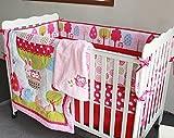 NAUGHTYBOSS Girl Baby Bedding Set Cotton 3D Embroidery Hot Air Balloon Rabbit Fox Owl Quilt Bumper Bedskirt Mattress Cover Blanket 8 Pieces Set Red