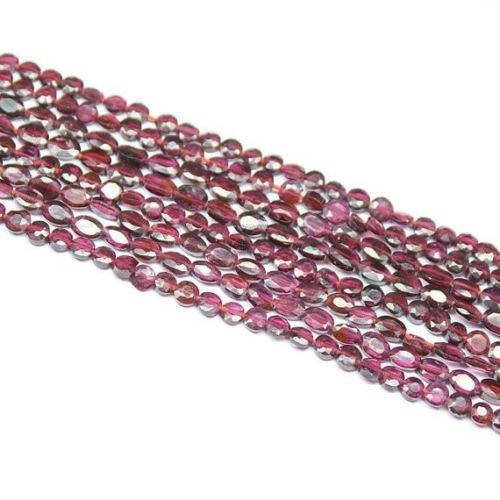 3 Strands Natural Red Garnet Faceted Oval Loose Gemstone Craft Beads 14' 6mm