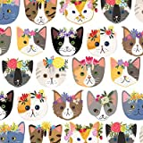 "Arts & Crafts : Hippie Kitty Cats Gift Wrap Flat Sheet 24"" X 6' - Gift Wrapping Paper"