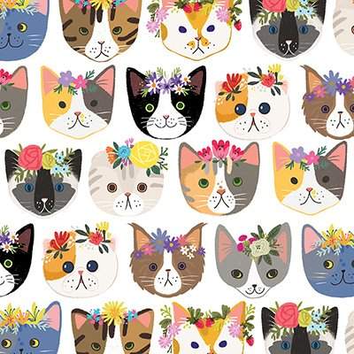 "Hippie Kitty Cats Gift Wrap Flat Sheet 24"" X 6' - Gift Wrapping Paper"