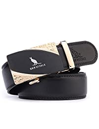 SAN VITALE Men's Solid Buckle with Automatic Ratchet Leather Belt 35mm Wide 1 3/8""