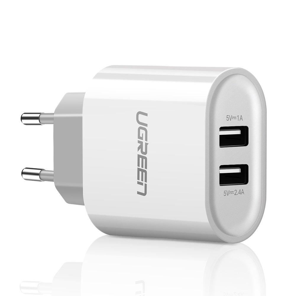 UGREEN 20384 - Cargador con 2 Puertos USB 5V/2.4A y 5V/1A