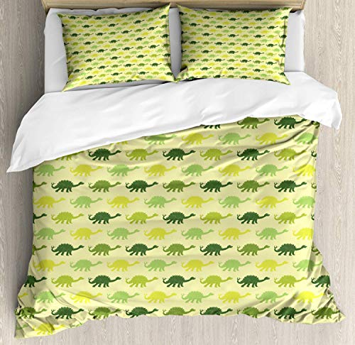(Dinosaur Bedding Duvet Cover Set, Repeating Pattern of Dinosaur Stegosaurus in Various Green Shades Kids Nursery, Decorative 3 Piece Bedding Set with 2 Pillow Shams, Multicolor)