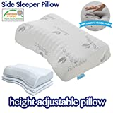 COMFYT Side Sleeper Pillow - Height Adjustable - Memory Foam Pillow Bed Pillow Sleeping Pillow Ideal for All Type of Sleepers, Ultra Soft Bamboo Pillow case