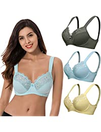 ef10e12990a Plus Size Unline Minimizer Underwire Bra with Embroidery Lace-3Pack