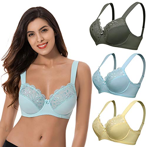 - Curve Muse Plus Size Unline Minimizer Underwire Bra with Embroidery Lace-3Pack-YELLOW,Hunter Green,Light BLUE-38D