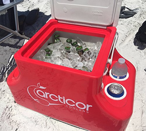 Arcticor Cooler with Patented Ice-Chilled Beverage Holders - RED