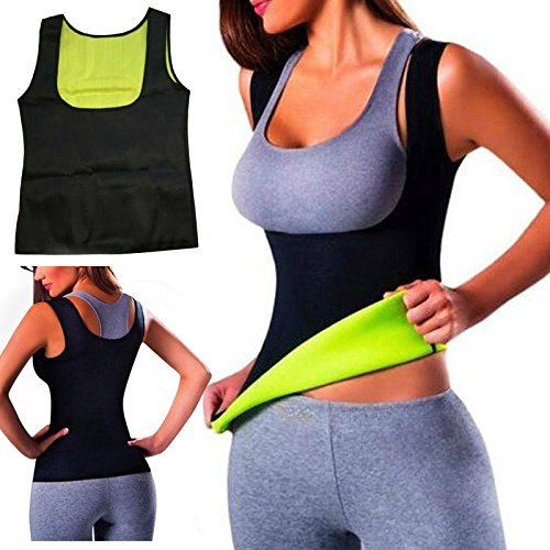 Women Hot Sweat Body Shaper Slimming Neoprene Shirt Vest Thermo Yoga Sauna Fat Burner Waist Shaper Trainer Cincher (M-4) (W/ 4 Burners)