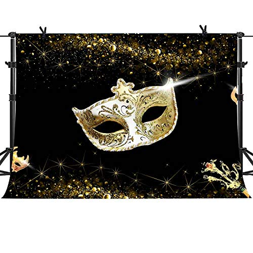 MME 7X5ft Golden Fantasy Mask Background Fancy Dress Theme Party Photography Background for Parties Supplies MME060
