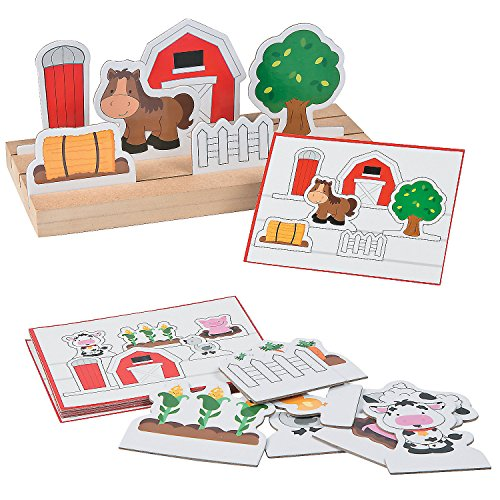Big Chipboard - Fun Express Following Directions Farm Game Set | Wooden Base, Prompt Cards, Chipboard Cutouts | Great for Kindergarten Class, Pre-School Classroom Activity, Educational Learning