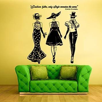 Wall Decal Vinyl Sticker Decals Ladies Girls Coco Chanel Fashion (Z1261)