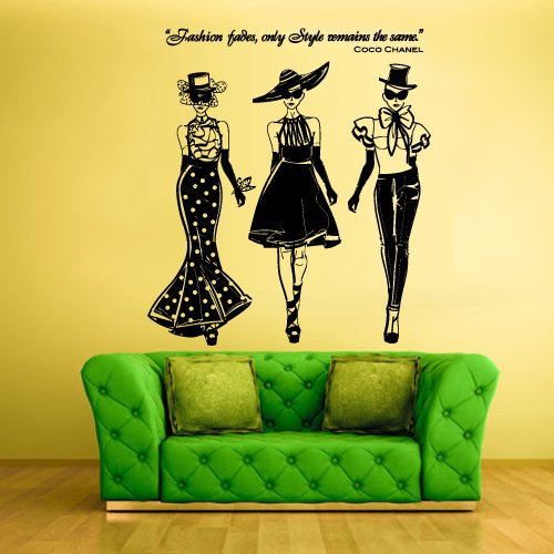 Price comparison product image Wall Decal Vinyl Sticker Decals Ladies Girls Coco Chanel Fashion (Z1261)