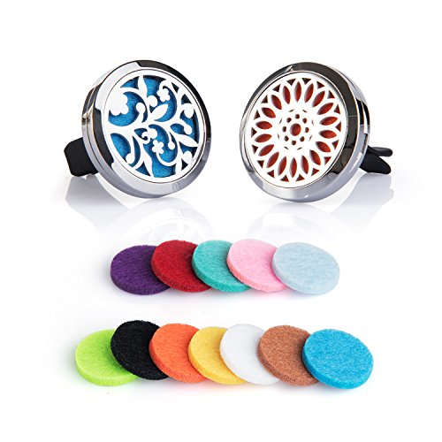 Fragrance Perfume Air Freshener - 2PCS Auzer Car Fragrance Diffuser Vent Clip Car Air Freshener Perfume Clamp Aromatherapy Essential Oil Diffuser Stainless Steel Locket with Vent Clip and 12 Oil Refill Pads (Tree of love + Sunflower)