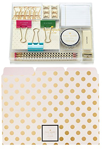 Kate Spade New York Organizer Set: Tackle Box with Gold Dot File Folders (Set of 6) (Gold Tackle)