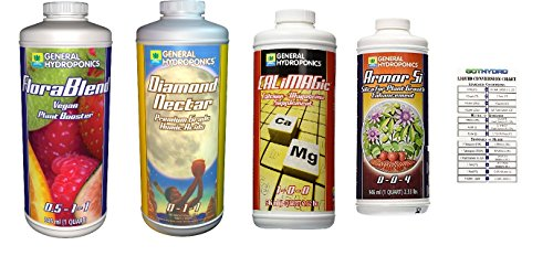 (General Hydroponics Armor Si, Diamond Nectar, Flora Blend Vegan, Cali Magic Quart Bundle with GotHydro Conversion Chart)