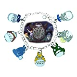 Blue Heron Totoro 7 Logo Charms Lobster Clasp Bracelet w/Gift Box