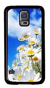 Diy Fashion Case for Samsung Galaxy S5,Black Plastic Case Shell for Samsung Galaxy S5 i9600 with Wildflower