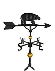 Montague Metal Products 32-Inch Deluxe Weathervane with Satin Black Bear Ornament