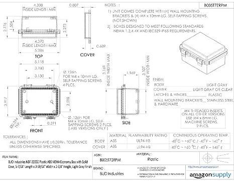 BUD Industries NBF-32002 Plastic ABS NEMA Economy Box with Solid Door