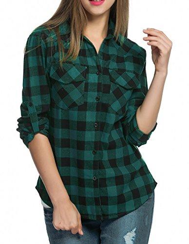 Womens Plaid Flannel (Oyamiki Women's Long-Sleeve Plaid Flannel Shirt Green S)