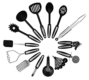 Kitchen Utensils Set by KWORKS | 22 Piece Home Cooking Tools | Utensil Set for Nonstick Cookware| Stainless Steel & Nylon Gadgets | Kitchen and Utensils for Pots and Pans