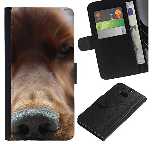 EuroCase - HTC One M8 - golden retriever nose dog canine - Cuero PU Delgado caso cubierta Shell Armor Funda Case Cover