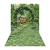 Allenjoy 6.5x10ft Spring Garden Backdrop for Photography Pictures Backdrops Background Wedding Events Party Flowers Green Vines Arch Gate Path Yard Secret Scenic Photo Props Bridal Shower photobooth