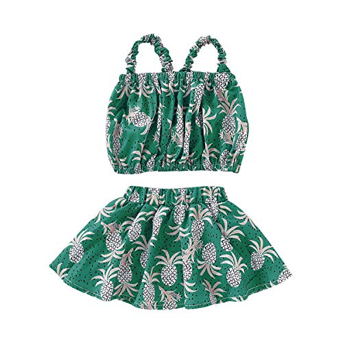 Toddler Baby Girl Floral Halter Ruffled Outfits Set Strap Crop Tops+Short Pants 2 PCS Clothes Set (Green, 4-5 Years) ()
