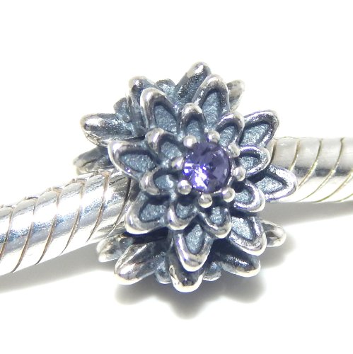 """Pro Jewelry .925 Sterling Silver """"Flower w/ Purple Crystal Center"""" Charm Bead for Snake Chain Charm Bracelets 2705-11"""