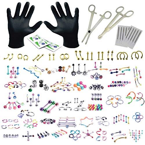 BodyJ4You 156PC Body Piercing Kit Lot 14G 16G Goldtone Belly Ring Tongue Tragus Random Mix Jewelry